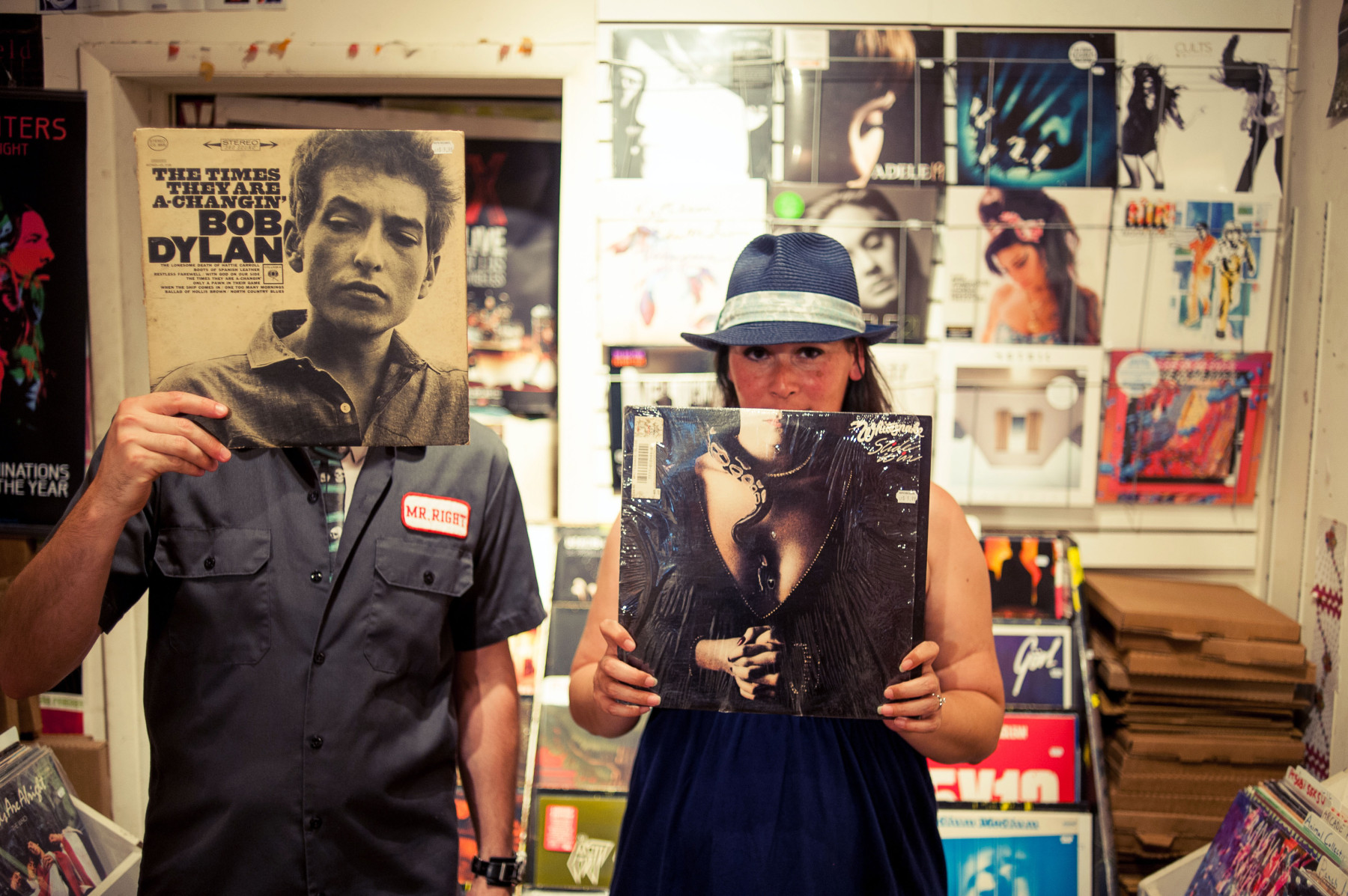 Record Store Engagement Photos in Philly Record Shop