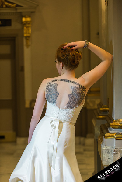 Baltimore Wedding at the Belvedere tattooed bride