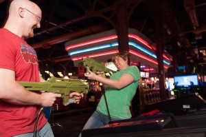 The couple duels at Dave and Buster's