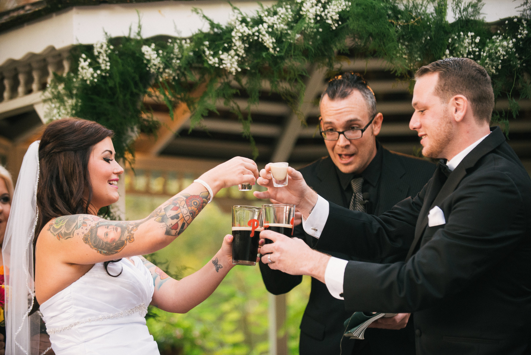 This outdoor wedding near West Chester, Pa shows off a fun new unique tradition.  Have you ever thought about doing an Irish Car Bomb on your wedding day?  Neither did I until I saw this couple make it happen.  The officiant ended up finishing part of the bride's drink.  Even if it's not your cup of tea as they say, you have to admit this wedding tradition takes the cake for being unique.  Want us to photograph your wedding?  Just shoot us a message on the contact me page.