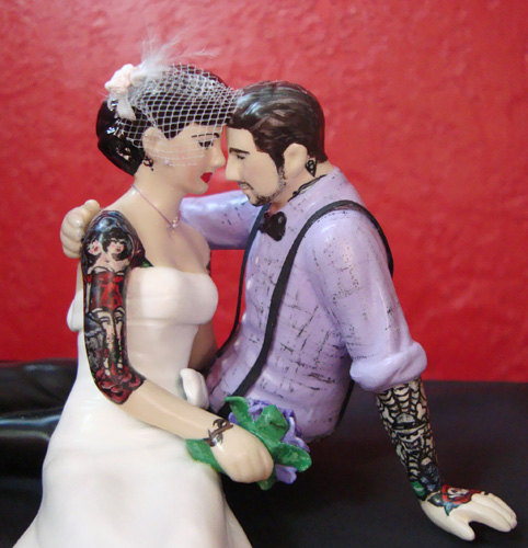 Tattooed Bride and Groom Cake Toppers